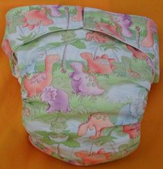 Adult abdl New AIO Reusable Super Absorbent Cloth Diaper Dino Babies S,M,L,XL