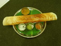 """Dosa - large, flat South Indian """"crepe"""" stuffed with curried potatoes or other fillings Veggie Recipes, Indian Food Recipes, Vegetarian Recipes, Veggie Meals, Ethnic Recipes, Indian Food Items, Indian Snacks, Indian Breakfast, Breakfast Photo"""