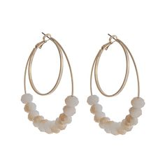 Wholesale gold layered hoop earrings beige faceted beads