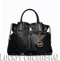 MICHAEL KORS Camden Large Leather Satchel Tote Bag BLACK NWT #MichaelKors #TotesShoppers