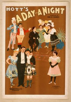 Hoyt's A Day and A Night Theater & Play Poster, dated1899 by The U.S. Printing Co. Cin., U.S.A      Click on image to see high res. ,#Arts, #Play, #Posters