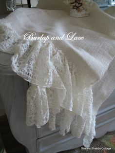 Sissie's Shabby Cottage: Burlap and lace table runner.