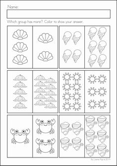 Kindergarten SUMMER Review Math & Literacy Worksheets & Activities. 104 pages. A page from the unit: which has more