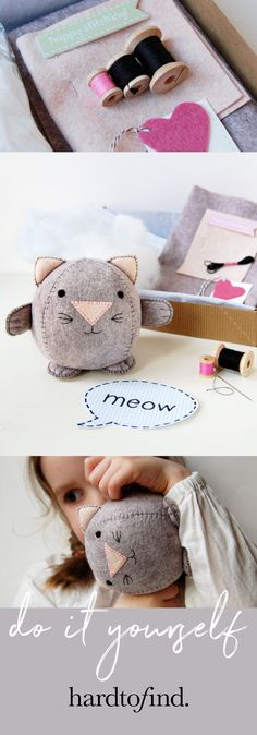 Make your own cute kitten. This kit contains everything need to make a lovely little kitten, even a needle. The only thing you have to provide is scissors. It's a creative gift for anyone interested in learning to sew! Craft Kits, Craft Projects, Sewing Projects, Creative Christmas Gifts, Creative Gifts, Felt Crafts, Diy Crafts, Learn To Sew, How To Make