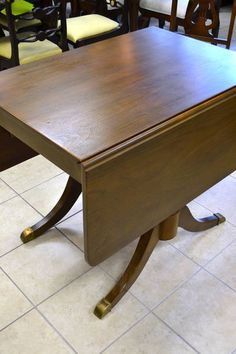 "Super Versatile ""Duncan Phyfe"" Solid Walnut Drop Leaf Dining Table with Brass Ferrules - Features Two Drop Leaves and 2 Beveled Insertable Leaves - With Leaves Down = 35"" W x 25.5"" x 29.5"" High, With Both End Leaves Up = 53"" in Length and With All Leaves in = 75.75"" Total Length - see? Versatile for any situation!"
