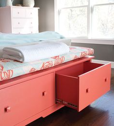 Bay Double Window Seat with Cushion | Maine Cottage #colorfulfurniture