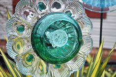 Repurposed Glass Flowers, Sun Catcher Glass Garden Art