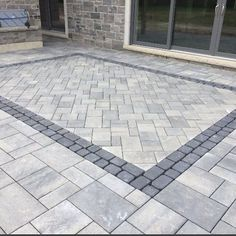Its All About The Details - This Patio With An Inlay On A 45 Is Perfection Contractor: Copper Beech Custom Concrete Patio, Pavers Patio, Walkway, Paving Stone Patio, Driveway Pavers, Modern Driveway, Stone Driveway, Bluestone Patio, Brick Pavers