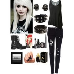 Gothic/ Emo Girl OOTD by therealairiana on Polyvore featuring L'Agence, Pull&Bear, Sergio Rossi, Bouchra Jarrar, Samsung and NARS Cosmetics