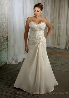 Sweetheart Beaded Elegant Ivory Plus Size Wedding Dresses for Sale