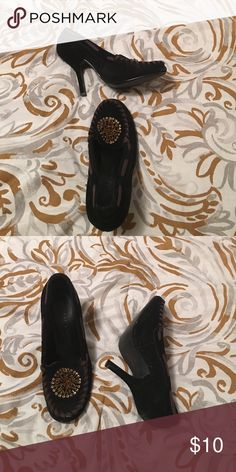 Women's size 7 pair of heels Black suede with brown trim and gold decorative jewels. Wonderful condition! Chinese Laundry Shoes Heels