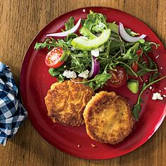 Hummus-and-Rice Fritters with Mediterranean Salad | MyRecipes.com