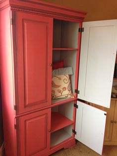 Homemade chalk paint on pine tv armoire