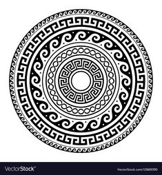 Illustration of Ancient Greek round key pattern - meander art, mandala black shape vector art, clipart and stock vectors. Maori Tattoos, Marquesan Tattoos, Tribal Tattoos, Hand Tattoo, Mandala Art, Mandala Tattoo Design, Mandala Drawing, Ancient Greek Tattoo, Polynesian Tattoos
