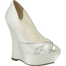 This wedge heel gives you an illusion of height without giving up any comfort. Cherish features a dyeable satin upper with a rhinestone trim accent, a comfort padded insole, and a leather outsole. Pink Wedding Shoes, Wedge Wedding Shoes, Bridal Shoes Wedges, Blue By Betsey Johnson, Valentino Women, Trendy Wedding, Wedge Heels, Ivory, Wedding Hair
