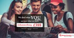 🔎 We find what YOU want, not just what we have. 💝   |   🚅 Airline :- Kenya Airways   |   🎯 Destination :- Johannesburg   |   💰 Fare :- £388   |   👉 Travel Period :- September – January 2017   |   #travel #flightoffers #johannesburg #destination #travelworld #airfares #kenyaairways #flights #flightstojohannesburg   |   Visit for more ; http://www.callcheapflights.co.uk/