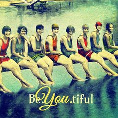 BE.YOU.TIFUL beautiful typography Art Deco vintage swim girls wall decor from Etsy site