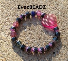 Pink and Black Heart Cathedral Bracelet CLEARANCE SALE ENDS 4.1,15 ....1st class ship ww...EvezBEADZ