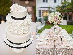 Glamorous Garden Wedding || Ruffled Blog || Photographer: Amanda K Photography / Wedding Caterer: Vibrant Table / Wedding Cake: AK Cake Design