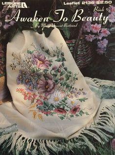 Cross stitch chart Awaken to Beauty by Mary Vincent Cross Stitch Books, Cross Stitch Rose, Cross Stitch Flowers, Cross Stitch Patterns, Stitch 2, Crochet Square Blanket, Crochet Afgans, Crochet Home Decor, Crochet Flowers