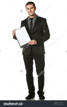 Full Length Of Businessman Holding Blank Board, Isolated On White Background Stock Photo 85260121 : Shutterstock