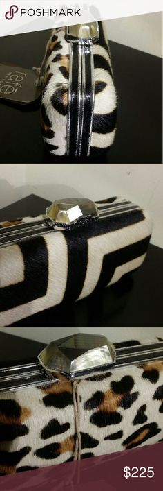 NWT Beautiful Raf? New York real fur clutch! Gorgeous designer clutch with fur on both side and a jewel adorning the closure! Simply breathtaking! Raf? New York  Bags Clutches & Wristlets