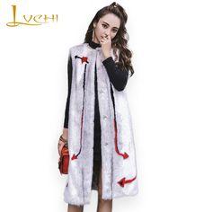 LVCHI 2017 fashion Autumn&winter Midi round collar Natural velvet Cross mink fur <font><b>Waistcoat</b></font> for women stylish fur Vest