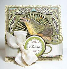 I like the pinwheel showing through the window opening.. cute idea. Heidi Van Laar for Anna Griffin