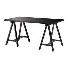 IKEA - LINNMON / ODDVALD, Table, white/black, , Pre-drilled holes for legs, for easy assembly.Solid wood is a durable natural material.