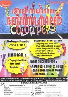Lomba Mewarnai Bersama MAPED Color Peps 27 April 2014 At Gramedia Royal Plaza, Surabaya Lt. UG 7am till drop  http://eventsurabaya.net/lomba-mewarnai-bersama-maped-color-peps/