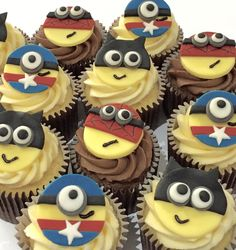 Superhero Minion cupcakes - perfect for birthday treats! Based in Leek, Staffs, check out my website for prices & more ideas. Delivery available in Leek, Stoke area. Toppers available to buy separately!!