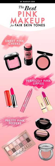 Makeup application is different for light, medium, and dark skin tones. We pulled together some pink makeup looks for fair skin! Here's how to wear it.