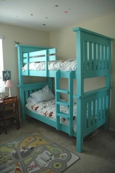 e see how we built a simple DIY bunk bed for our kids bedroom