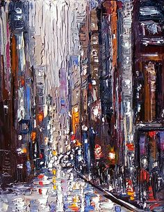 Debra Hurd Original Paintings AND Jazz Art: Cityscape New York art painting rainy by Debra Hurd