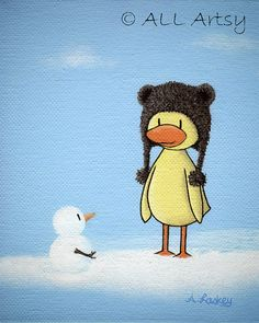 Ducky Meets Snowman 8 x 10 canvas matted winter art by ALLArtsy,