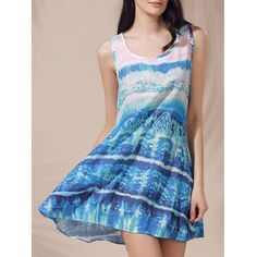 Повседневный Scoop шеи без рукавов Печатный ВС платье для женщин  #Повседневный #Scoop #шеи #без #рукавов #Печатный #ВС #платье #для #женщин