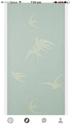 """Love this """"Swallows"""" wallpaper design by Sanderson. It's a vintage design from the Available to order from Dible & Roy 01225 862320 Chinoiserie, Textures Patterns, Print Patterns, Khadra, Yennefer Of Vengerberg, Wall Wallpaper, Painted Wallpaper, Wallpaper Backgrounds, Designer Wallpaper"""