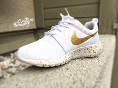 outlet store 71835 920a9 Custom Roshe White and Gold Custom Nike roshe by CustomSneakz Nike Custom  Shoes, Gold Nike
