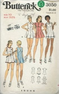 An original ca. 1970's Butterick Pattern 3050.  Misses' Tennis Dress & Briefs - Semi-fitted, flared dress has front zipper closing, neckline and sleeve variations, and topstitch trim.  With or without patch pockets, purchased appliques, and trim variations.  Loose-fitting briefs have elasticized upper and leg edges.