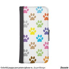 Colorful puppy paw prints iphone wallet case