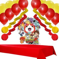 Yo-Kai Watch Party Decoration Set: Poster, Banner, Streamers, Balloons, Table Cover
