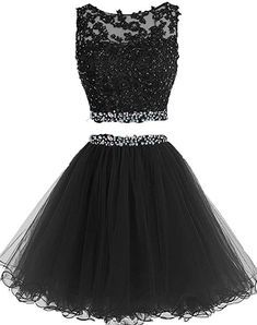Prom Dresses Two Pieces Short Beaded Party Dresses Tulle Applique Homecoming Dress - Homecoming Dresses Two Piece Homecoming Dress, Blue Homecoming Dresses, Prom Dresses Two Piece, Cute Prom Dresses, Grad Dresses, Two Piece Dress, Pretty Dresses, Prom Gowns, Beaded Dresses