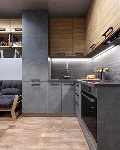 Minimal Kitchen Design, Luxury Kitchen Design, Kitchen Room Design, Home Room Design, Kitchen Cabinet Design, Home Decor Kitchen, Interior Design Kitchen, Loft Interior, Small Apartment Interior