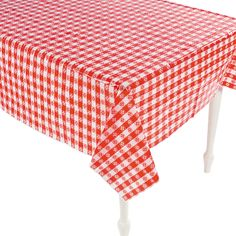 "Ordered!  $16.99 per dozen; 52"" x 90 Red & White Checkered Table Covers - OrientalTrading.com"