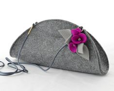 Grey Small Felt Cute Handbag Cluch with a Fuchsia by GreenSheepPL