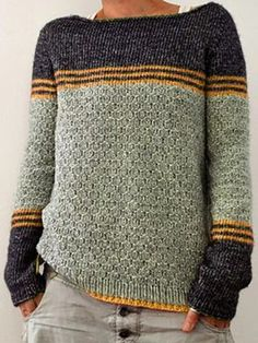 Contrast Color Stripe Long Sleeve Sweater is on sale at reasonable prices, having a beautiful sweater & cardigan, you can own a beautiful autumn. Casual Sweaters, Pullover Sweaters, Sweatshirt, Men Sweater, Color Stripes, Sweater Outfits, Pulls, Long Sleeve Sweater, Elbow Patch Sweater