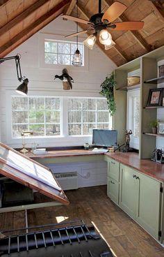 Cool diy backyard studio shed remodel design & decor ideas - decor - Design Home Art Studios, Art Studio At Home, Artist Studios, Art Studio Spaces, Art Spaces, Studio Shed, Garage Studio, Dream Studio, Studio Build