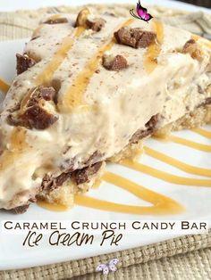 Caramel Crunch Candy Bar Ice Cream Pie | Together as Family Caramel Crunch Candy Bar Ice Cream Pie | www.togetherasfamily.com<br> Ice Cream Pies, Ice Cream Toppings, Ice Cream Desserts, Frozen Desserts, No Bake Desserts, Easy Desserts, Frozen Treats, Caramel Crunch