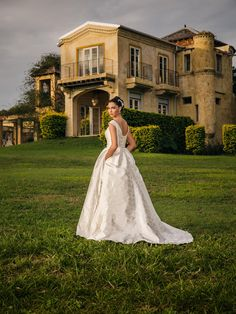 The 'Mary' gown in a soft floral Italian silk Jacquard from Bertossi Brides at Paddington Weddings.