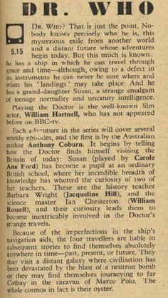 BBC - Archive - The Genesis of Doctor Who - 'Radio Times' article for 23 November, 1963